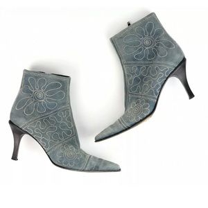 VIA SPIGA Blue Suede Ankle Western Point Toe Boot